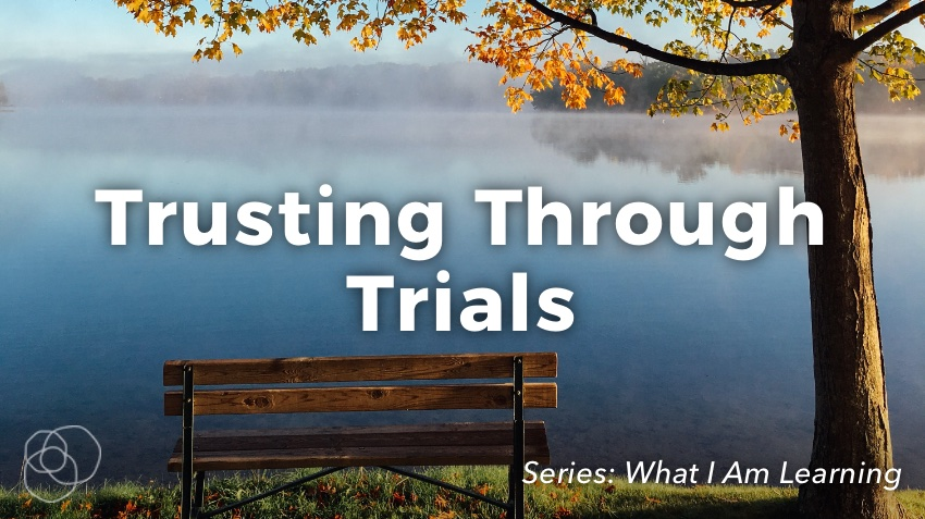 Trusting Through Trials (Empty Bench by calm lake next to autumn tree)