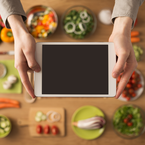 Food with tablet computer.