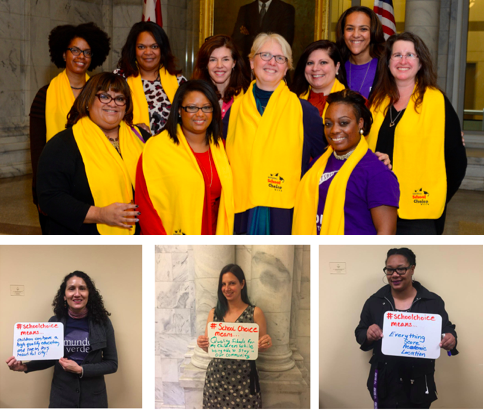 Parents from NSCW 17 holding white boards with what #SchoolChoice means to to them
