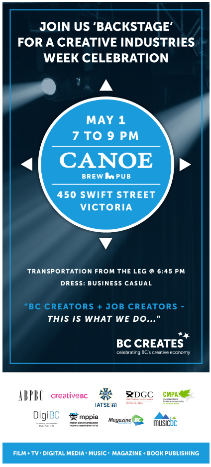 Creative Industries Week Celebration May 1, 7 to 9 p.m. Canoe Brew Pub, 450 Swift St, Victoria - BC Creates