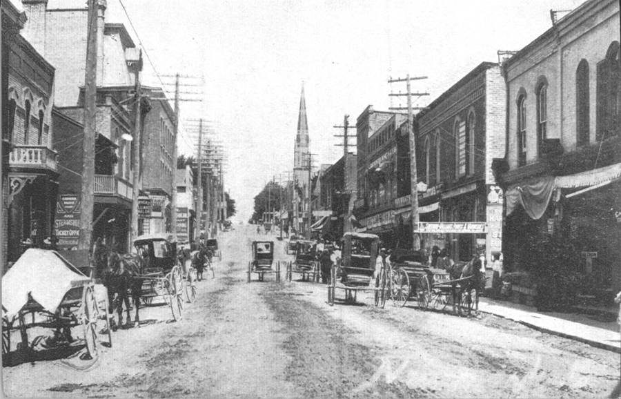 A view of Main Street South in 1890 looking north