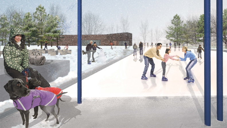 An artistic rendering of the outdoor ice rink, which will be located just east of the Community Centre