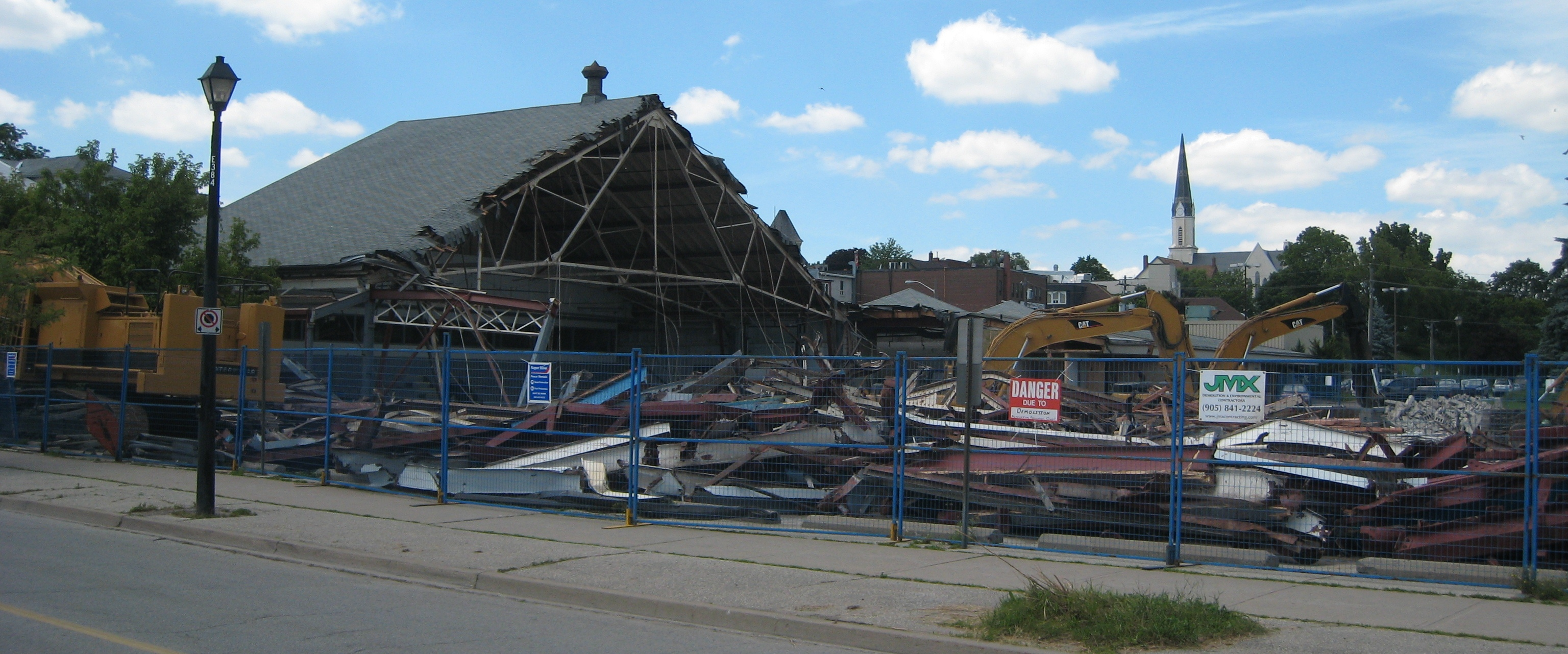 Partial demolition of the Community Arena in June 2010