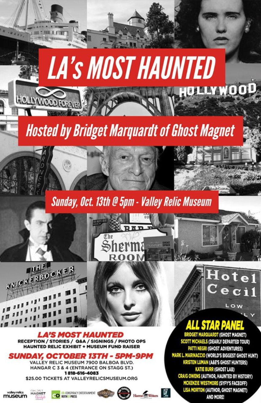 Flyer for LA's Most Wanted, hosted by Bridget Marquardt of Ghost Magnet