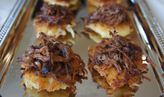 Pulled Brisket-Topped Latkes
