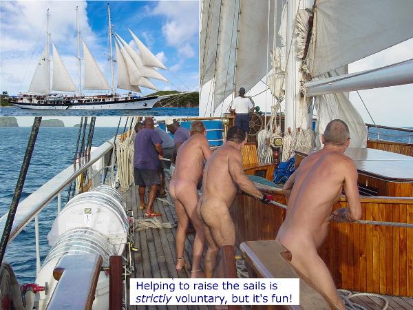 Windjammer raising sails