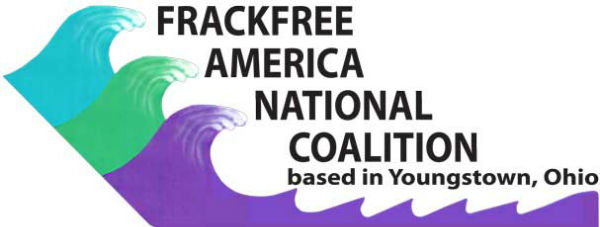 Frackfree America National Coalition logo with blue green purple waves of clean water and no fracking