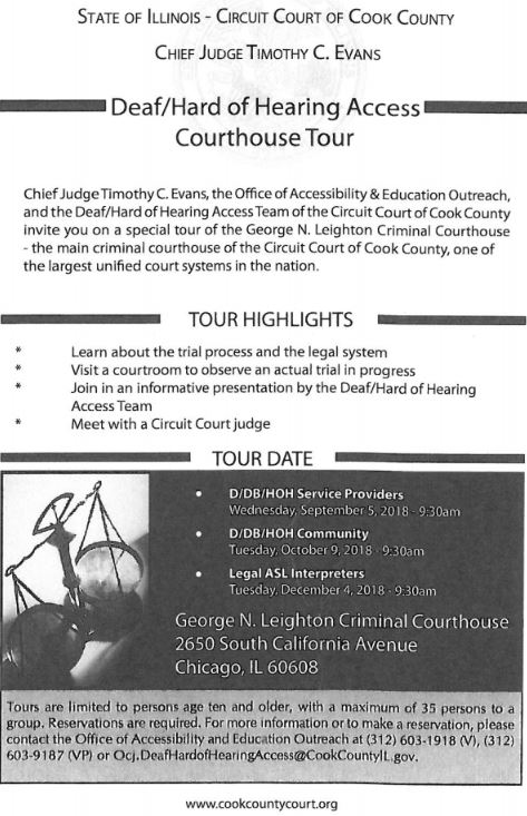 Flyer for court tours