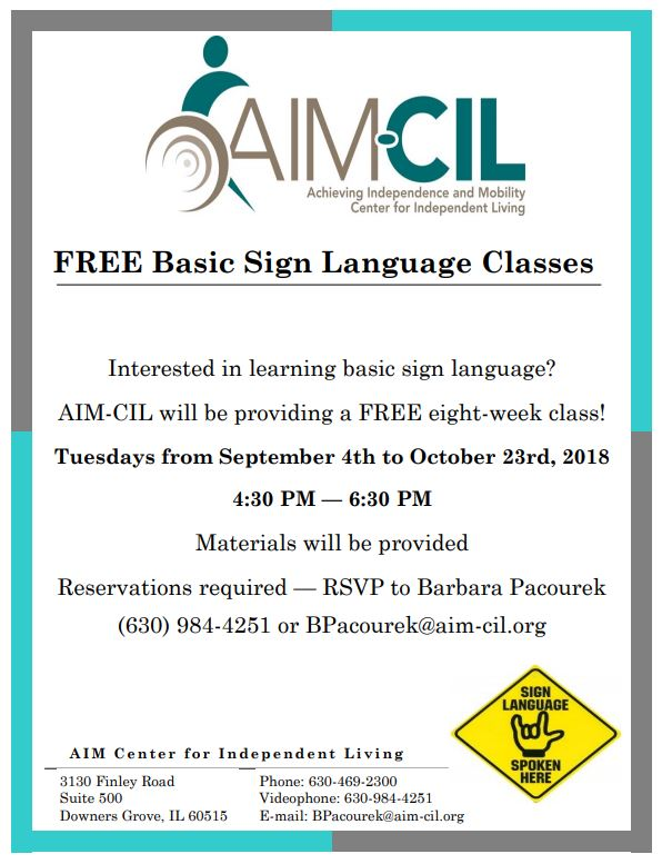 AIM-CIL sign language flyer