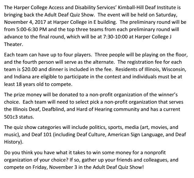 Deaf Quiz Show details