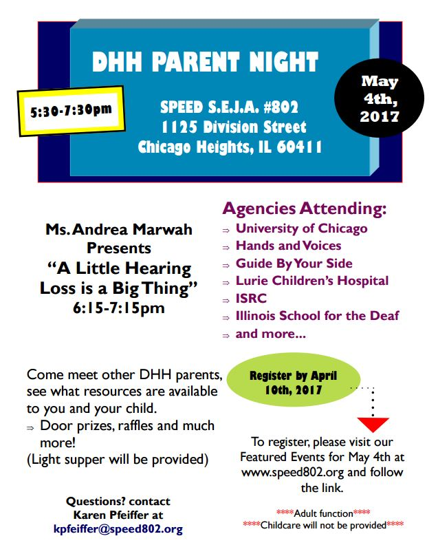 DHH Parent Night flier