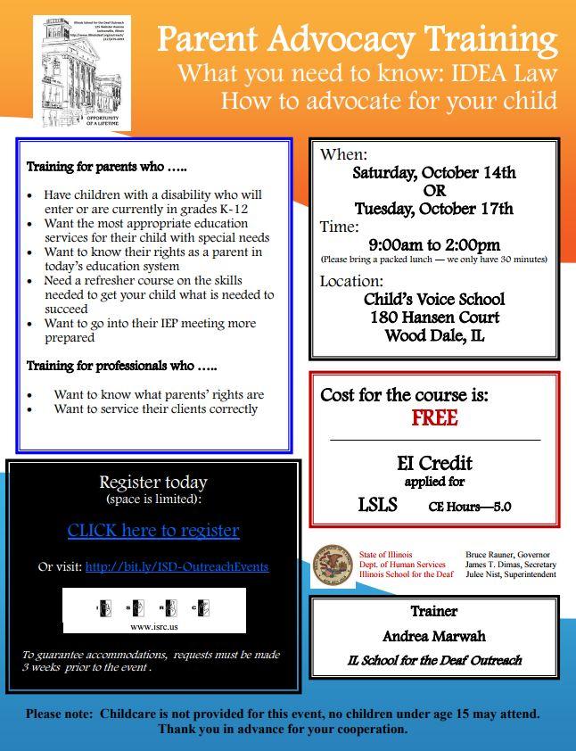Parent Advocacy Training flier