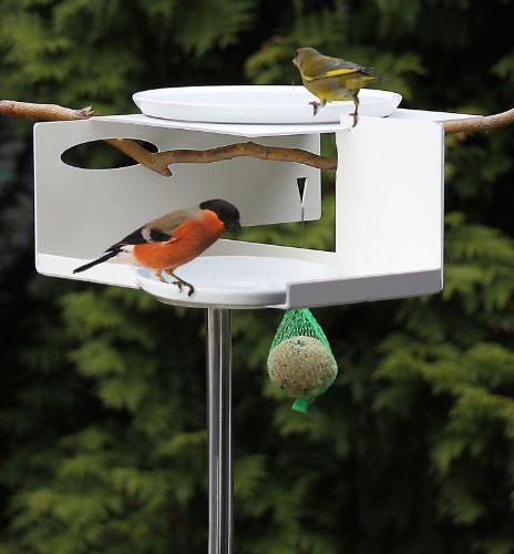 Mod Bird Feeder/Bird Bath on Pole