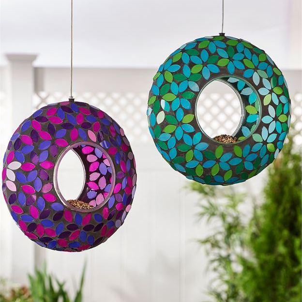 Mosaic Glass Fly-Thru Bird Feeder