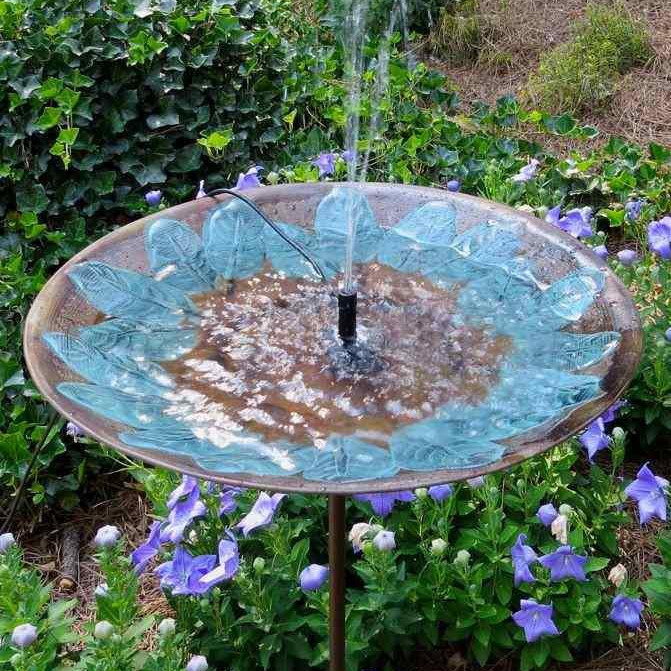Brass Leaves Solar Birdbath