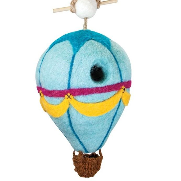 Hot Air Balloon Felted Wool Birdhouse