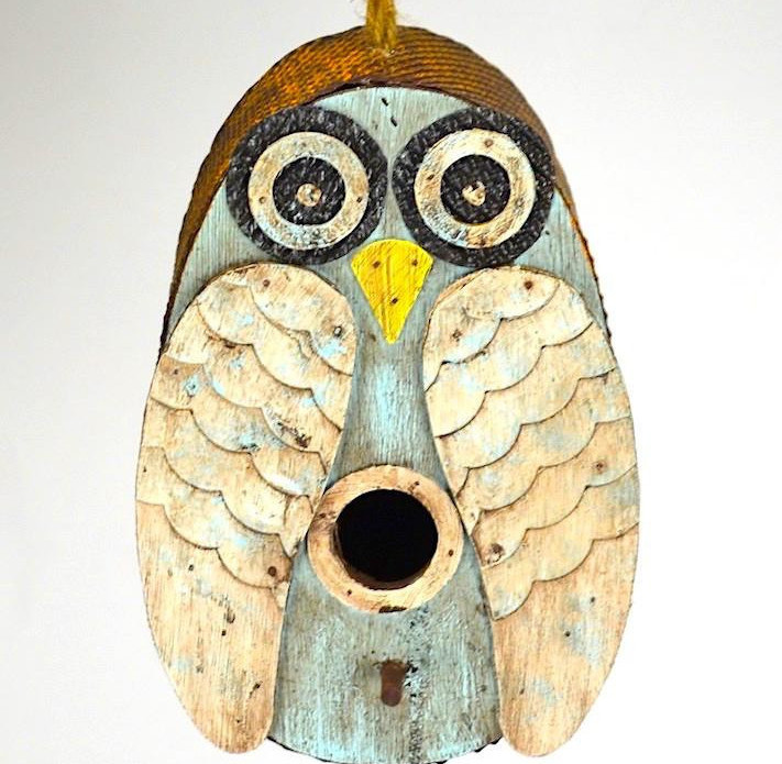 Distressed Owl Birdhouse