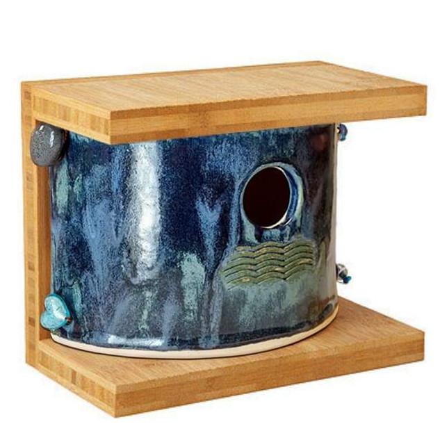 Bamboo and Stoneware Mod Birdhouse