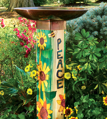 Peace Tall Bird Bath