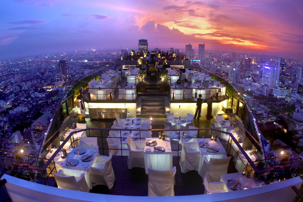 Thailand Hotels buchen - Shopping in Bangkok - Banyan Tree Bangkok - Sonnenutergang von Vertigo Moon Bar Banyan Tree Bangkok