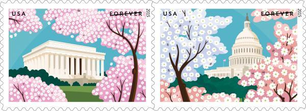 USA and Japan Friendship - Cherry blossom Stamps