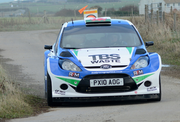 Rally driver James Belton in action