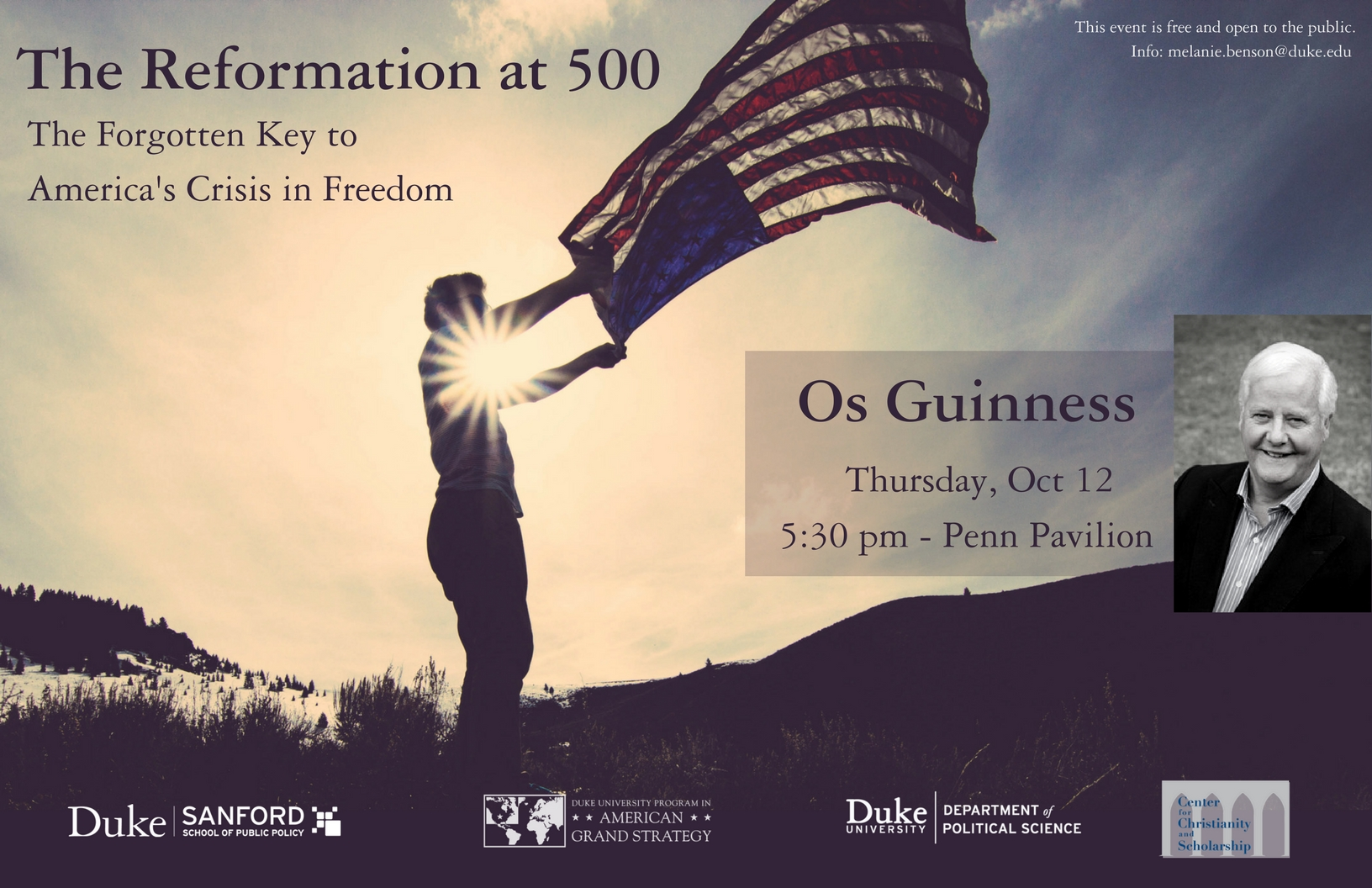 The Reformation at 500: The Forgotten Key to America's Crisis of Freedom: A Conversation with Os Guinness @ Penn Pavilion  | Durham | North Carolina | United States