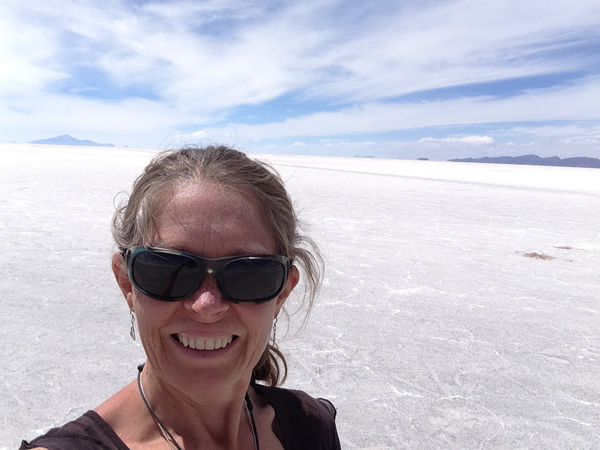 Debra in Uyuni Salt Flats