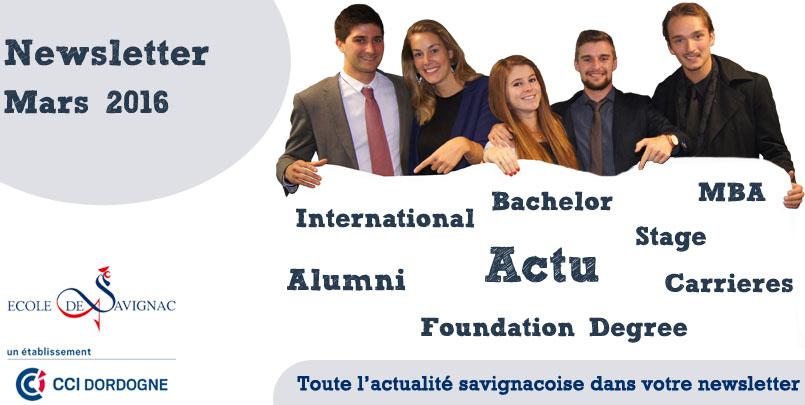 Newsletter Mars 2016 Ecole de Savignac