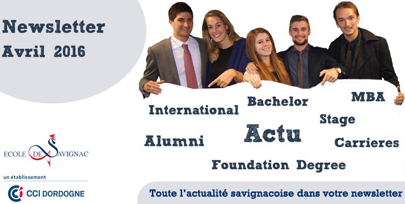 Newsletter Avril  2016 Ecole de Savignac