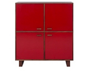 Henge Storage Unit, Walnut & Red