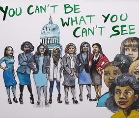 Illustration by alumna Molly Crabapple that says You Can't Be What You Can't See