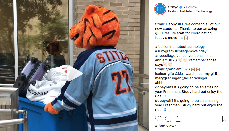 screenshot of FIT Instagram post with video of Stitch moving into residence hall