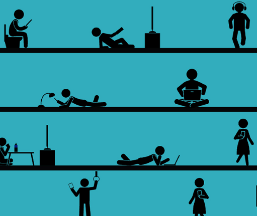 infographic with stick figures doing different daily tasks by infographic by Antonia Ridderstraale