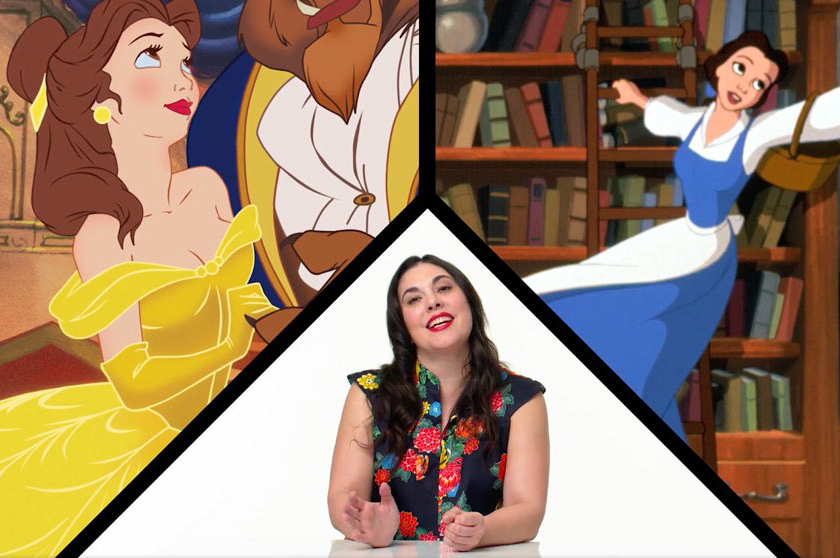 split image with two images of Beauty cartoon with April Calahan in between