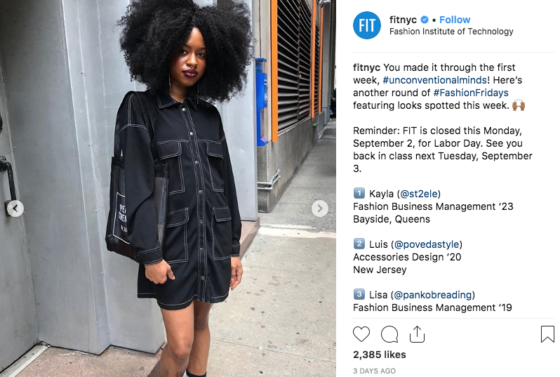 screenshot of FIT Instagram Fashion Friday photo of student with cool clothes