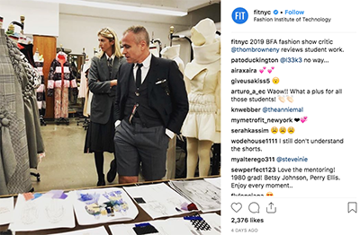 screenshot of FIT Instagram post with Thom Browne in Fashion Design classroom