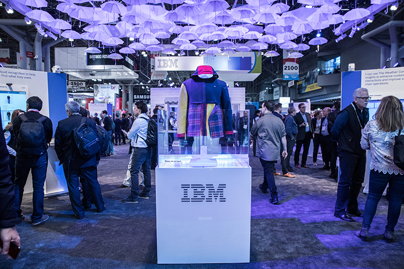 clothing from IBM/Hilfiger/FIT partnership on display at trade show