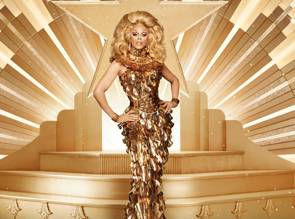 RuPaul wearing a Zaldy-designed gold dress