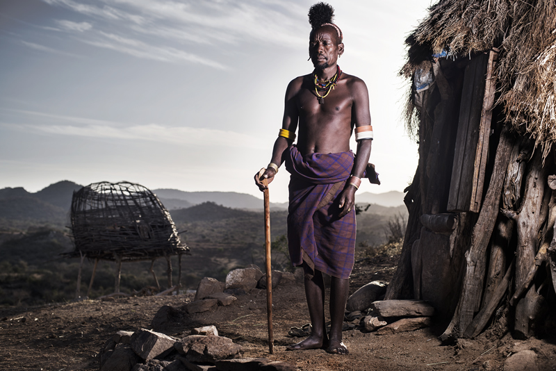 Member of a vanishing tribe of former headhunters, Omo Valley, Ethiopia.