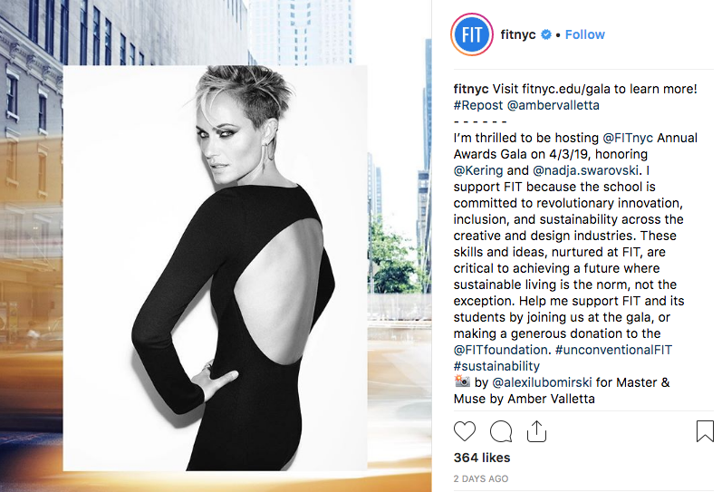 screenshot of FIT Instagram post about Sustainable Business and Design Gala hosted by Amber Valletta