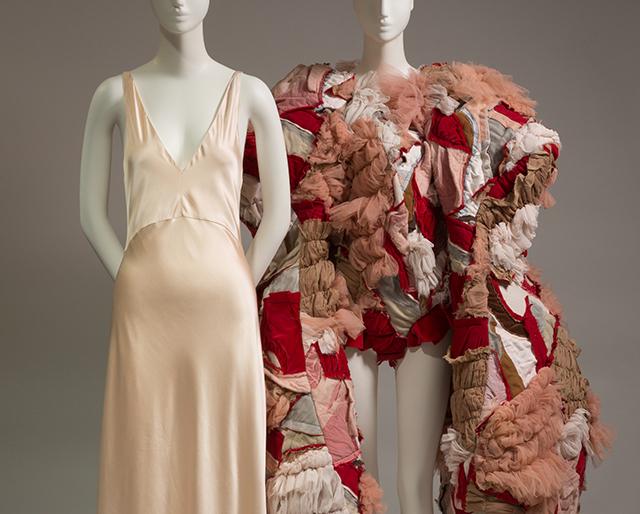 simple slip dress and patchwork bodysuit on mannequins