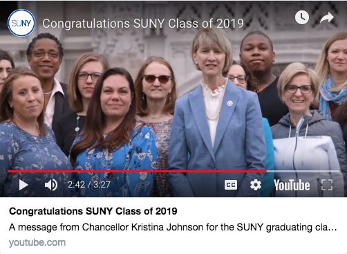 screenshot SUNY Chancellor's YouTube video for graduating students