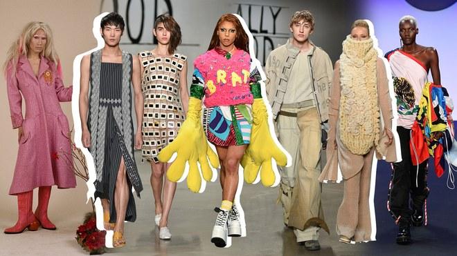 collage of models wearing student fashions: Photost: Bo Chapli / Courtesy of Cassadee Hirsch; Fernando Colon/ Courtesy of Pratt Institute (Quesada, Beneroff, Conlon); Getty Images / Courtesy of the Fashion Institute of Technology (Diaz, Tahmasian, Clarke)