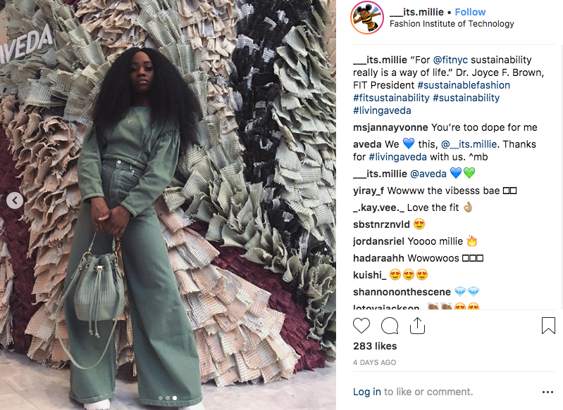 screenshot of student Instagram photo in front of Aveda display at Sustainability Conference