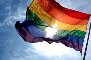 rainbow flag flying