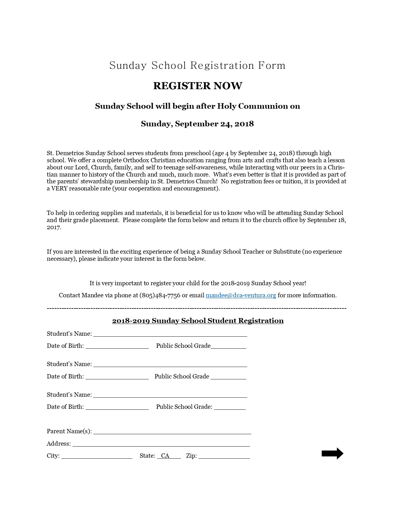 Sunday School Registration