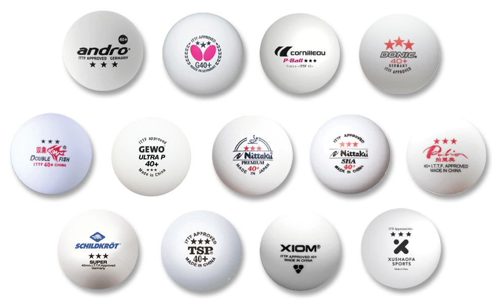 Table tennis balls of all major brands with logos