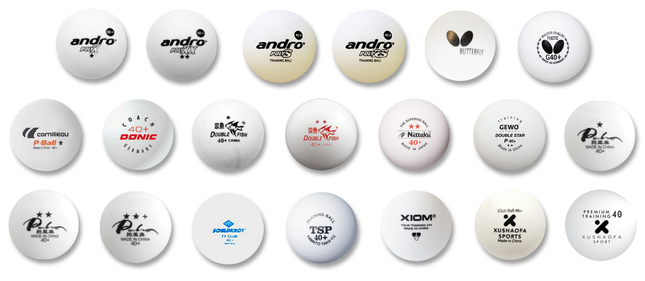 Multiple brands table tennis balls with logos