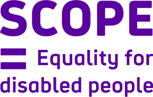 """Scope logo: """"Scope = Equality for disabled people"""""""